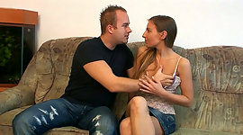 Czech teen girl gives good blowjob to..