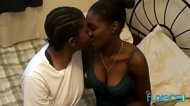 Two black lesbians delight in eating..