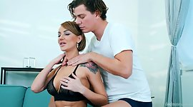 Dude oils up slinky and tattooed milf..