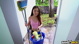 Asian cleaning female Lulu Chu gives a..