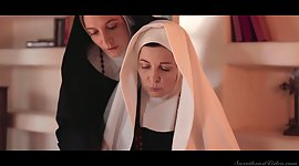 Two sinful mature nuns are licking and..