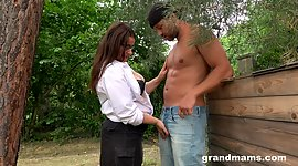 Raunchy mature plumper grabs sweetmeat..