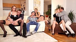 Three consensual swinger play couples..