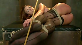 Bondageable red-haired in hosiery..