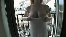 Extremely busty blondie enjoys topping..