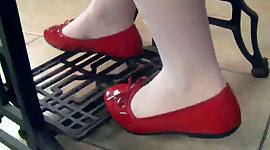 Teen fiance Petra in red shoes and..